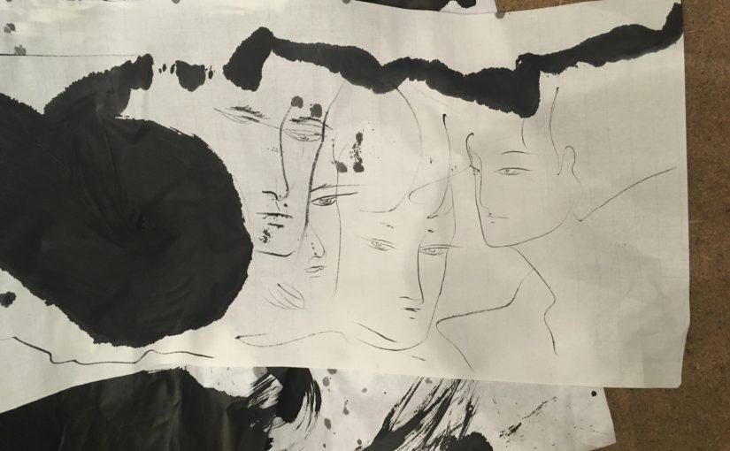 雨の夏至の「墨とコントラバス」